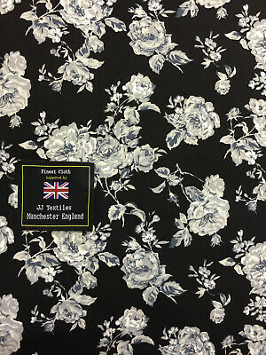 PRINTED Cotton POPLIN Dressmaking Fabric Material DAISY TAUPE