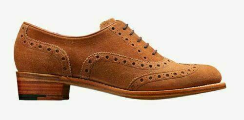 Women's Bespoke Handmade Genuine Leather & Suede Oxford Brogue Wingtip Shoes