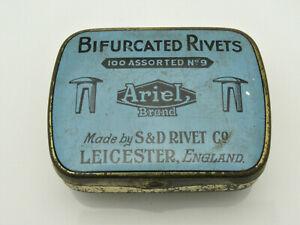 VINTAGE S & D RIVET CO LEICESTER BIFURCATED RIVETS TIN c1940/1960s ARIEL BRAND