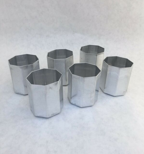6 OCTAGON Votive Candle Molds Seamless Aluminum