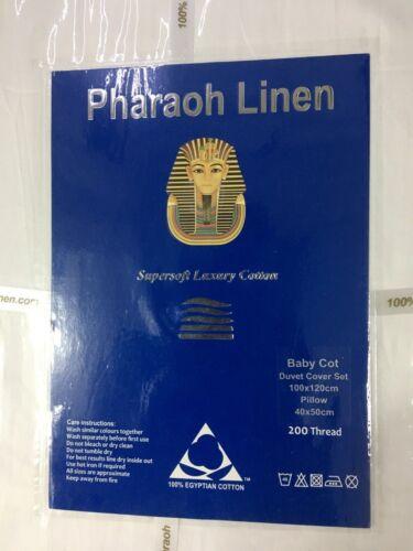 100/% EGYPTIAN COTTON 200 THREAD BABY COT WHITE or CREAM DUVET COVER SET