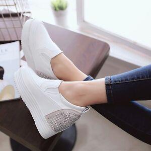 HOT-Beautiful-Womens-Pu-Hidden-Heels-Wedge-Boots-Hidden-Heel-Sneakers-Shoes