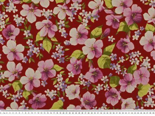 140cm Blumendruck Frischer Dekostoff bordeaux-mehrfarbig
