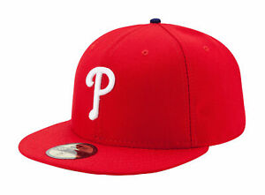 New-Era-59Fifty-MLB-Cap-Philadelphia-Phillies-AC-On-Field-Fitted-Game-Hat-Red