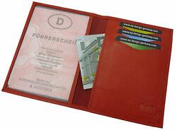 Kalbsleder Ausweisetui Ausweistasche Ausweismäppchen Kreditkartenetui Rot