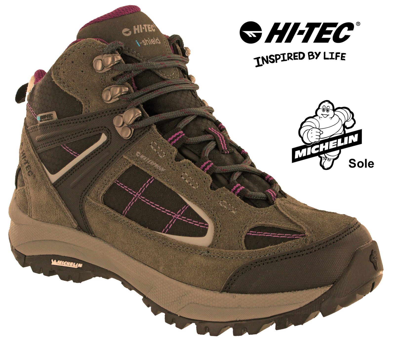 Hi-Tec Hiking Waterproof Boots Altitude VI Michelin Walking Lace Womens