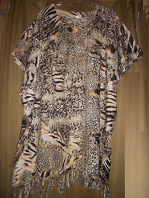 """One Size Plus Caftan Tunic Cover Up Animal Print  NWT 1X 2X 3X  58"""" Bust"""