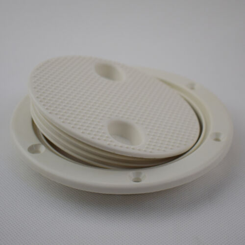 One Piece 4 Inch Round Access Hatch Cover Lid Screw Out Deck Marine Boat Plastic