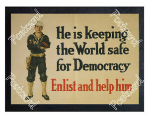 Historic-WWI-Recrutiment-Poster-Navy-Enlist-and-help-him-Postcard