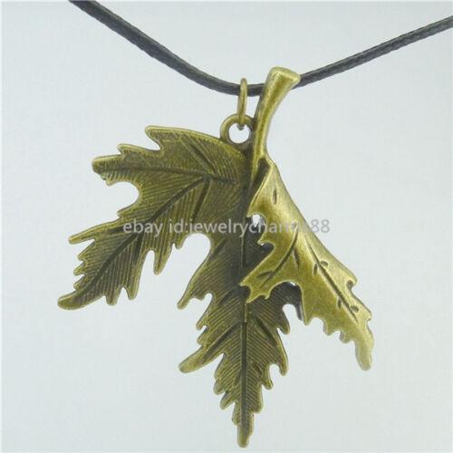 """Plants Large Dangle Maple Leaf Pendant 17/"""" Collar Choker Short Necklace 11081"""