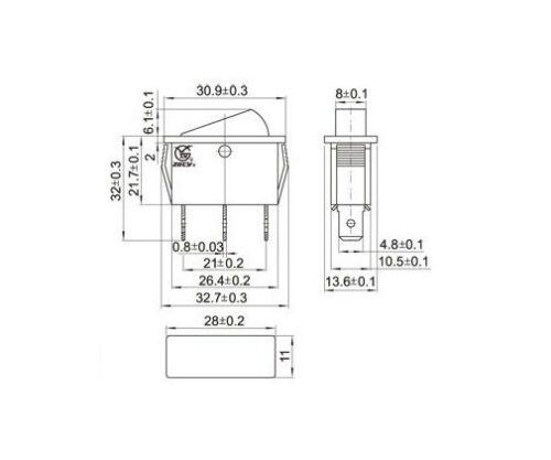 Wippe beleuchtet Geräteschalter 4 Stück Wippenschalter 15A 250VAC 3 Pin