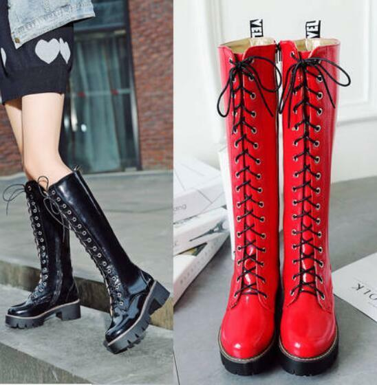 femmes Lace Up Knight Pu leather British Oxford Knee High bottes Flat  Heel chaussures
