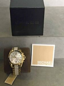 fd0bdce603e6 Michael Kors Women s MK5743 Gold-Tone White Chronograph Watch ...