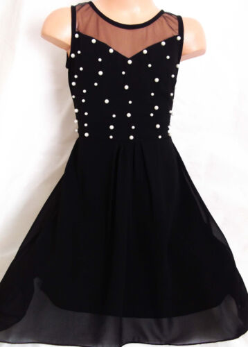 GIRLS BLACK PEARL TRIM CHIFFON SPECIAL OCCASION PRINCESS PROM PARTY DRESS