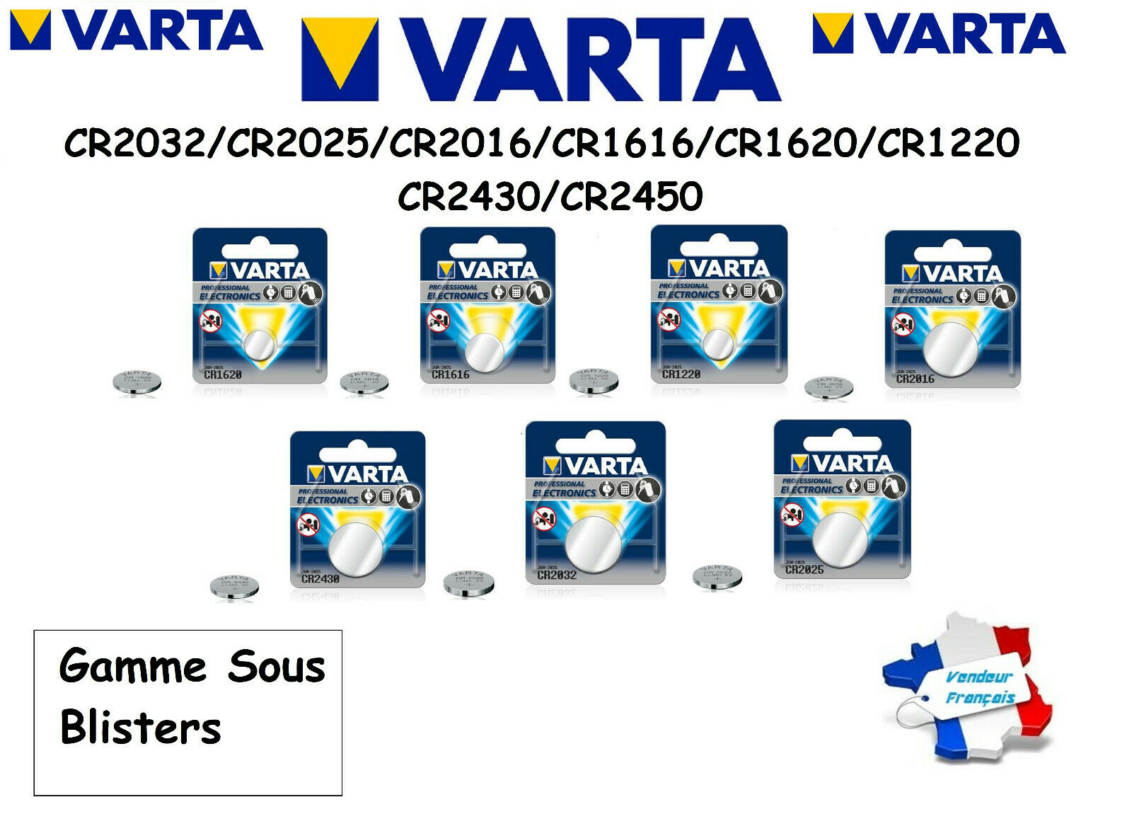 Button battery varta 3v cr2032/cr2025/cr2016 lithium, fast and free shipping