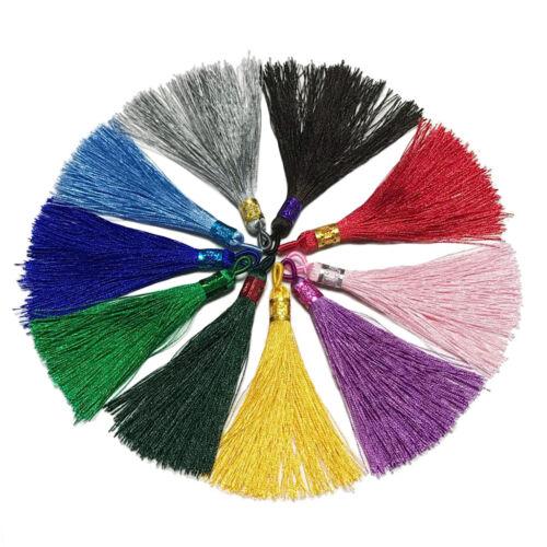 10 Farben 9cm 3,54 Zoll seidig Flusen Lesezeichen Quasten Anhänger mit