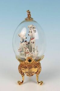 Limited-Edition-Franklin-Mint-Disney-101-DALMATIANS-Gold-Footed-Glass-Egg