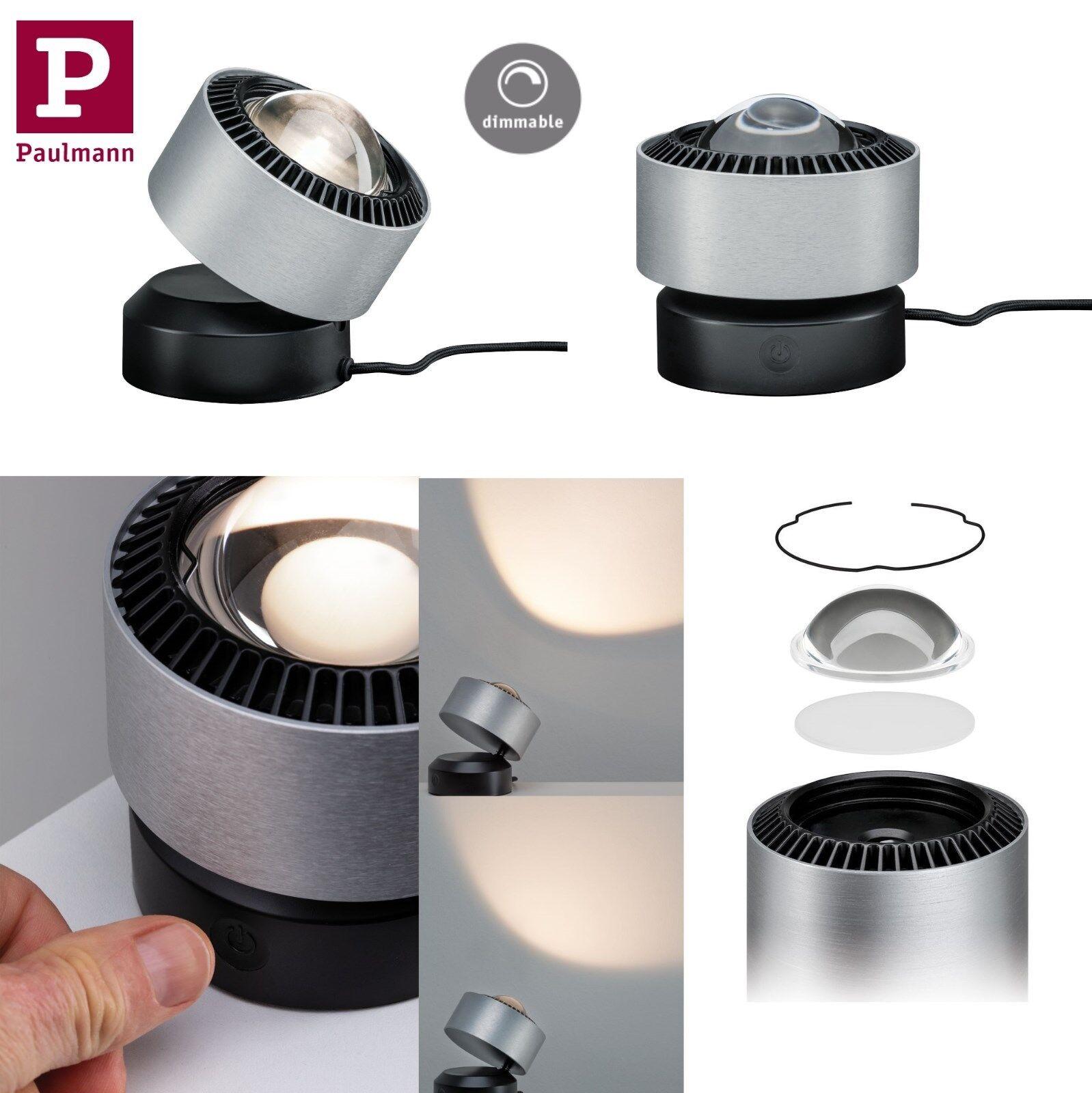 Paulmann LED Tischleuchte Aldan 3,5W Schwarz Alu gebür. mit Stufen Touch Dimmer