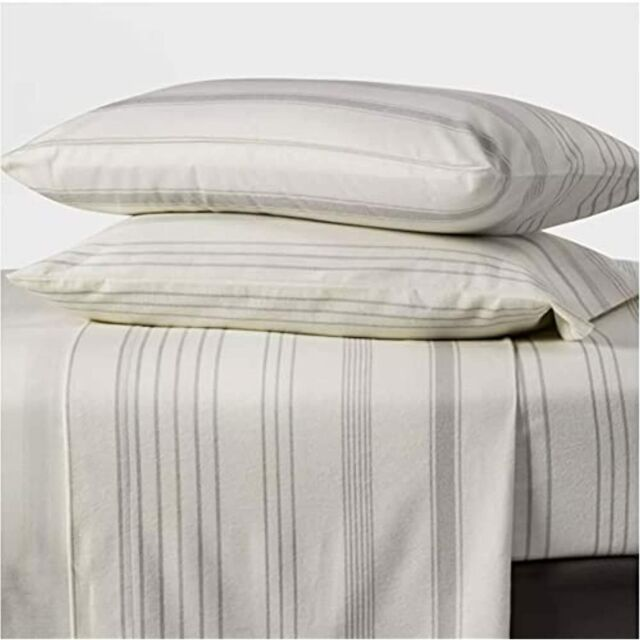 Queen Printed Pattern Fall Flannel Sheet Set Gray Stripe Threshold