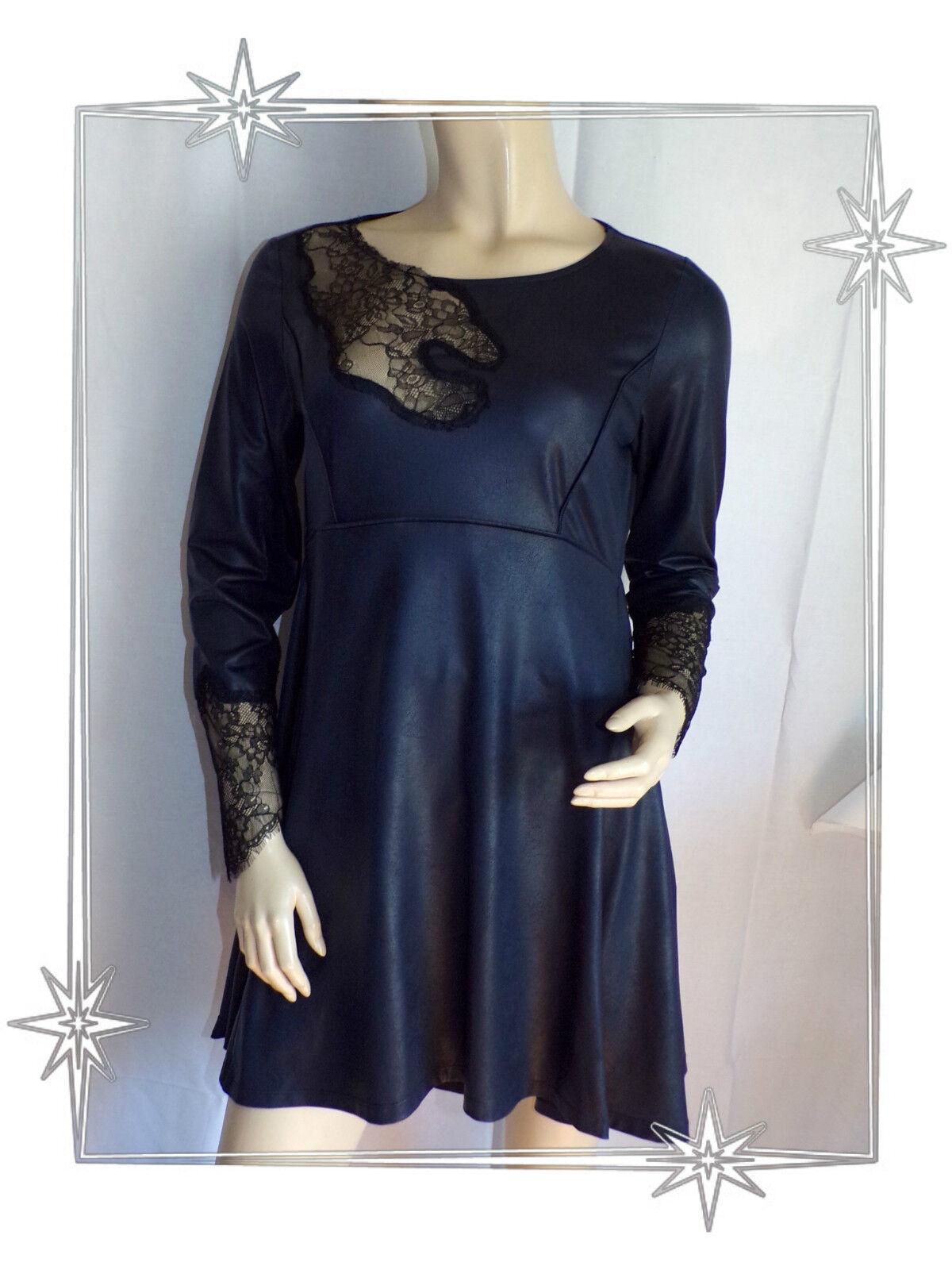 Schöne B Tunika-kleid Mitternachtsblau Spitze Mod. Wang Lauren Vidal Größe 38
