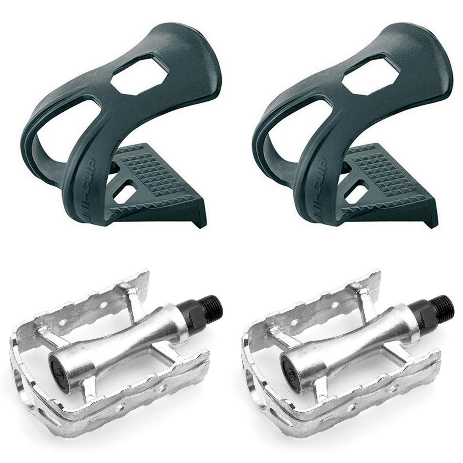Pedales Retro Vintage Plata Aluminio Eje de Cromo Bicicleta + Calapies 3194bpl