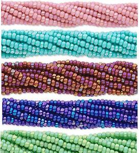 Czech Glass Seed Beads Size 11//0 Gold Rainbow