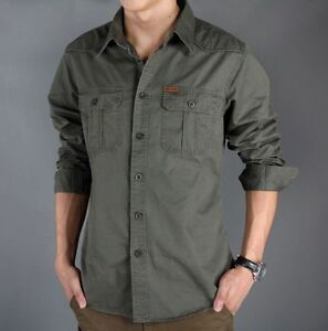 Mens-Military-Army-Security-Tactical-cotton-Work-Shirt-Long-Sleeve-Casual-Shirts
