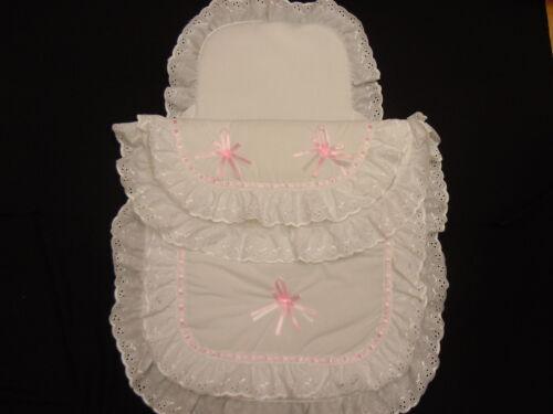 Hermoso Cochecito De Edredón Y Almohada Set adecuado para la mayoría Cochecitos Color Blanco Rosa