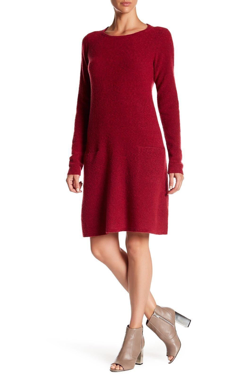 NEW Eileen Fisher Wool Blend Bateau Neck Sweater Dress in rot - Größe S