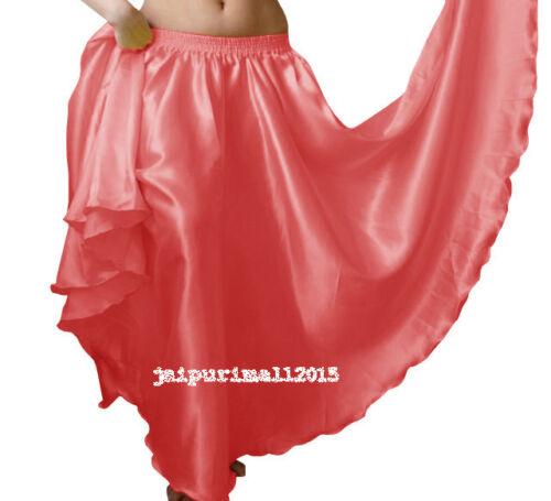 Satin 12 Yard Full Circle Long Skirt Gypsy Belly Dance Costumes 360 Tribal Jupe