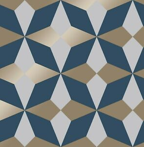 Modern geometric wallpaper navy blue gold nova fine decor fd42548 ebay - Navy gold wallpaper ...