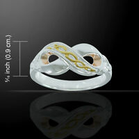 Celtic Infinity Three Tone .925 Sterling Silver Ring By Peter Stone