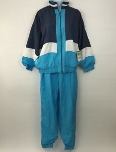 New-Vintage-BOLD-SPIRIT-Womens-Blue-Nylon-TRACK-SUIT-Medium-Color-Block-Jacket