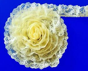 Volumen-Encaje-45-7m-Amarillo-5-1cm-Ancho-Volantes-Floral-Ribete-de-Encaje