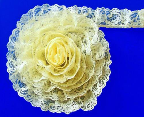 Bulk Lace~50 Yards Yellow 2 Inch Wide Ruffled Floral Lace Trim