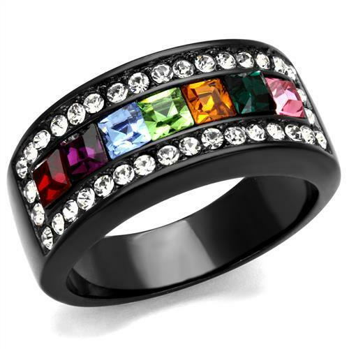 WOMEN'S BLACK STAINLESS STEEL MULTIPLE COLOR PRINCESS CUT CRYSTAL RING SZ 8,9,10