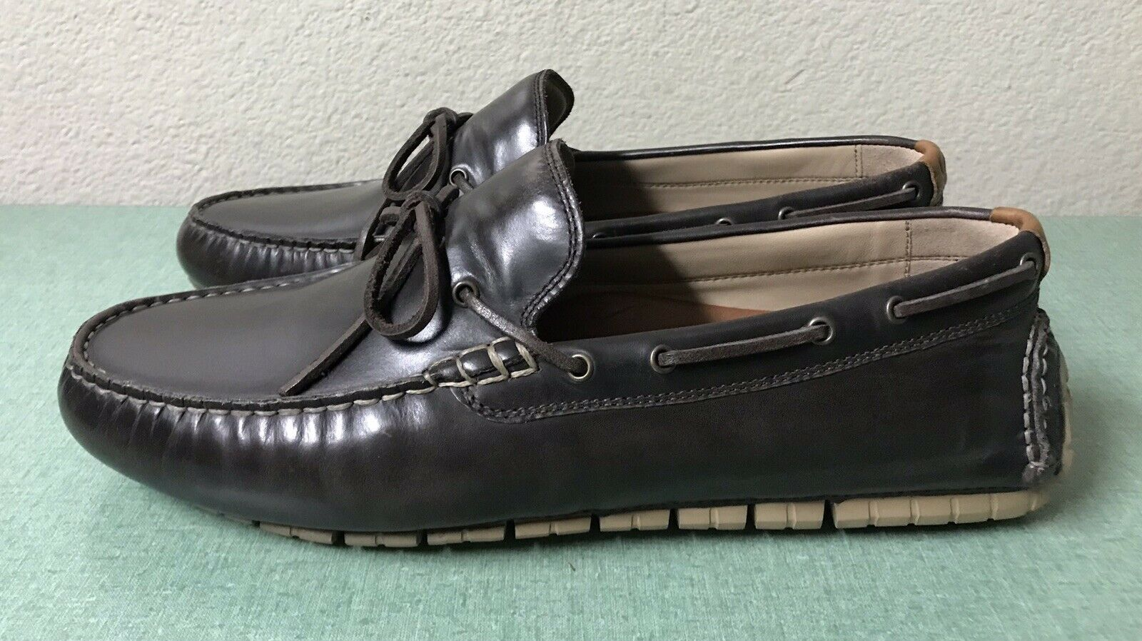 Cole Haan zerogrand driver loafers castaño cuero SZ 11.5 C2 5996