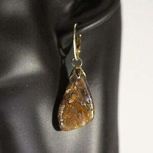 Ohrhänger aus  vergoldetem Silber und Boulder Opalen