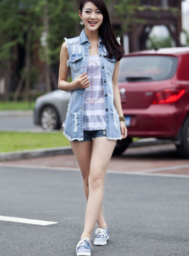 Hot New Woman Sleeveless Ripped Holes Button Casual Jeans Denim Long Vest Tops