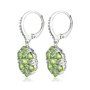 Sterling-Silver-Peridot-and-White-Topaz-Flower-Dangle-Leverback-Earrings