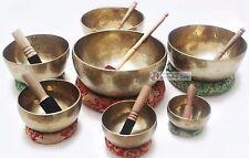 "5""-12"" Chakra Healing Tibetan Singing Bowl Set -7 Hand Hammered Meditation Bowls"