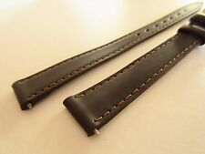 APOLLO LONG BROWN LEATHER 14MM WATCH STRAP BAND GOLD BUCKLE
