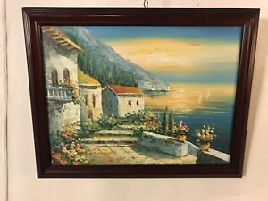Paintings-Oil-On-Board-Italian-Village-framed-unsigned-18-X314-C11pix-MAKE-OFFER