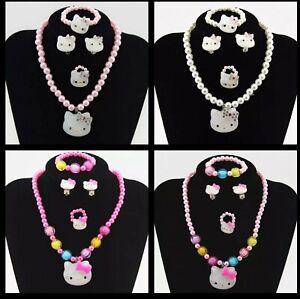 227c094127a2 La imagen se está cargando Nuevo-Collar-Pulsera-De-Hello-Kitty-Ninas-Perla-