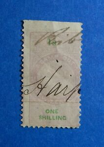 1870-1S-NEW-ZEALAND-STAMP-DUTY-REVENUE-BAREFOOT-184-USED-DIE-Ii-PERF-10-CS33173