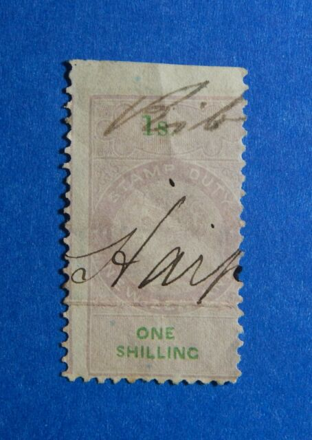 1870 1S NEW ZEALAND STAMP DUTY REVENUE BAREFOOT# 184 USED DIE Ii PERF 10 CS33173