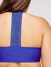CACIQUE LANE BRYANT size 42D Bikini Top w/ Built In Bandeau Bra Blue Agate