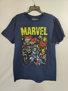 Marvel Hybrid Men's Blue Short-Sleeve Graphic Avengers Crew-Neck T-Shirt Size L