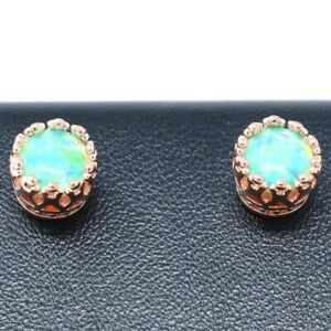 Antique-Vintage-Green-Green-Opal-Earring-Women-Jewelry-Gift-14K-Rose-Gold-Plated