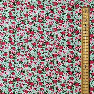 Floral en polycoton tissu rouge et roses rose aqua back ground mètre fat quarter
